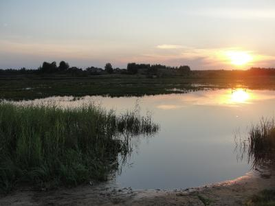 Закат на Мстижском озере